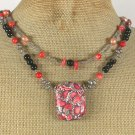 Handmade RED TURQUOISE CORAL BLACK AGATE PEARLS 2ROW NECKLACE