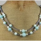 Handmade BLUE CORAL & FRESH WATER PEARLS 2ROW NECKLACE