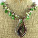 Handmade MURANO GLASS & CAT EYE CRYSTAL & FW PEARL NECKLACE