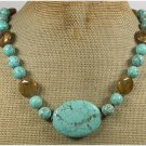 Handmade TURQUOISE & TIGER EYE NECKLACE