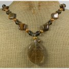 Handmade TIGER QUARTZ TIGER EYE CRYSTAL FW PEARLS NECKLACE