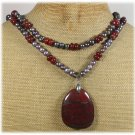 Handmade BACCIATED JASPER & FRESH WATER PEARLS 2ROW NECKLACE