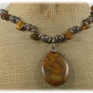 Handmade BROWN POPPY JASPER TIGER EYE COFFEE JASPER NECKLACE