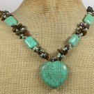 Handmade TURQUOISE TIGER EYE FRESH WATER PEARLS NECKLACE
