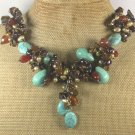 Handmade  TURQUOISE AGATE TIGER EYE PEARLS NECKLACE