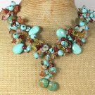 Handmade  TURQUOISE JADE AGATE CRYSTAL NECKLACE