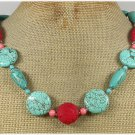 Handmade RED CINNABAR PINK CORAL TURQUOISE NECKLACE