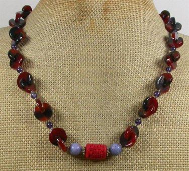 Handmade RED CINNABAR PURPLE CORAL AMETHYST AGATE NECKLACE