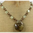 Handmade TIGER QUARTZ GREEN RUTILATED JASPER FW PEARLS NECKLACE