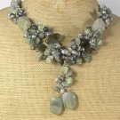 Handmade GREEN RUTILATED JASPER LABORADITE FRESH WATER PEARLS NECKLACE