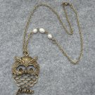 Handmade LARGE OWL PENDANT & FRESH WATER PEARLS NECKLACE