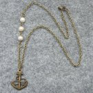 Handmade ANCHOR PENDANT & FRESH WATER PEARLS NECKLACE