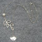 Handmade SILVER BIRD & BRANCH & FRESH WATER PEARL NECKLACE
