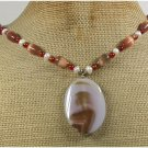 Handmade BRAZILIAN AGATE CAT EYE FRESH WATER PEARLS NECKLACE