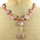 Handmade RED ZEBRA JASPER & FRESH WATER PEARLS NECKLACE