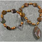 Handmade BROWN POPPY JASPER TIGER EYE FRESH WATER PEARL NECKLACE
