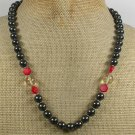 Handmade CITRINE & HEMATITE & RED CORAL NECKLACE