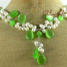 Handmade GREEN CAT EYE & FRESH WATER PEARL NECKLACE