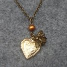 Handmade  HEART LOCKET & LITTLE BEE & FRESH WATER PEARL NECKLACE