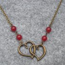 Handmade HEARTS PENDANT & RED JADE NECKLACE