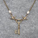 Handmade KEY PENDANT & BIRDS & FRESH WATER PEARLS NECKLACE