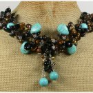 Handmade TURQUOISE AGATE TIGER EYE WOOD PEARLS NECKLACE