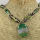 Handmade GREEN AGATE PERIDOT FRESH WATER PEARLS NECKLACE