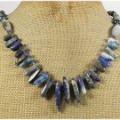 Handmade LAZULI LAPIS FANCY JASPER FRESH WATER PEARLS NECKLACE