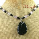 Handmade BLACK AGATE & CLEAR QUARTZ NECKLACE