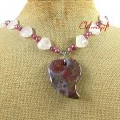 Handmade OCEAN JASPER ROSE QUARTZ FW PEARL NECKLACE