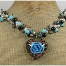Handmade FLOWER LAMPWORK BLUE JADE BLACK AGATE PEARLS NECKLACE