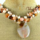 Handmade AGATE & CORAL & PEARL NECKLACE