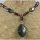 Handmade MILITARY JASPER RED AGATE FW PEARLS NECKLACE
