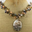 Handmade ABALONE LADY CAMEO & QUARTZ & CRYSTAL & PEARLS NECKLACE