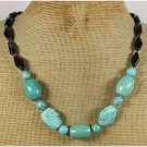 Handmade TURQUOISE BLACK AGATE NECKLACE