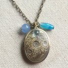 Handmade   OVAL LOCKET BLUE AGATE BLUE JADE AQUA CRYSTAL NECKLACE