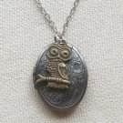Handmade  OVAL LOCKET & OWL ON THE BRANCH CHARM NECKLACE