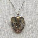 Handmade  OVAL LOCKET & ELEPHANT CHARM NECKLACE