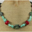 Handmade TURQUOISE RED CORAL KAMBABA JASPER NECKLACE