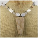 Handmade FOSSIL AGATE LACE AGATE PICTURE JASPER NECKLACE
