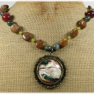 Handmade BIRD PORTRAIT PENDANT AGATE JADE NECKLACE