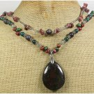 Handmade FANCY JASPER AFRICAN TURQUOISE RHODONITE 2ROW NECKLACE