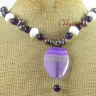Handmade PURPLE LACE AGATE & JADE & WHITE CORAL NECKLACE