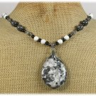 Handmade BLACK SESAME JASPER WHITE TURQUOISE BLACK LABORADITE NECKLACE