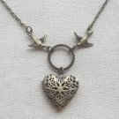 Handmade  FILLIGREE HEART LOCKET PENDANT & SWALLOW BIRDS NECKLACE