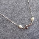 Handmade SIDEWAYS CROSS & FRESH WATER PEARLS NECKLACE