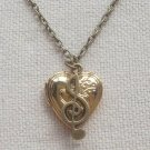 Handmade  HEART LOCKET PENDANT & MUSIC NOTE CHARM NECKLACE
