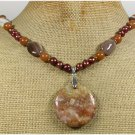 Handmade BROWN JASPER HONEY JADE AGATE FW PEARLS NECKLACE