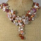 Handmade AGATE QUARTZ FRESH WATER PEARLS NECKLACE