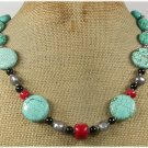 Handmade TURQUOISE RED CORAL BLACK CRYSTAL PEARLS NECKLACE